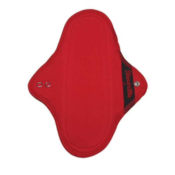 cloth pad REGULAR S RED with wings washable - eco cotton