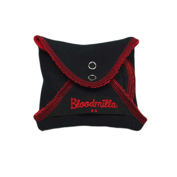 panty liner REGULAR RED / BLACK with wings washable - eco cotton
