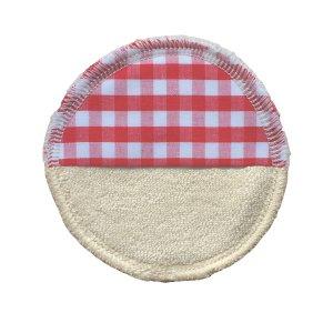 Abschminkpad / Mini-Waschlappen NATUR / Karo rot