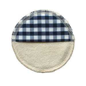 makeup remover pad washable - ORGANIC cotton blue/white