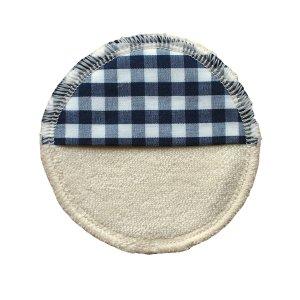 Abschminkpad / Mini-Waschlappen NATUR / Karo blau