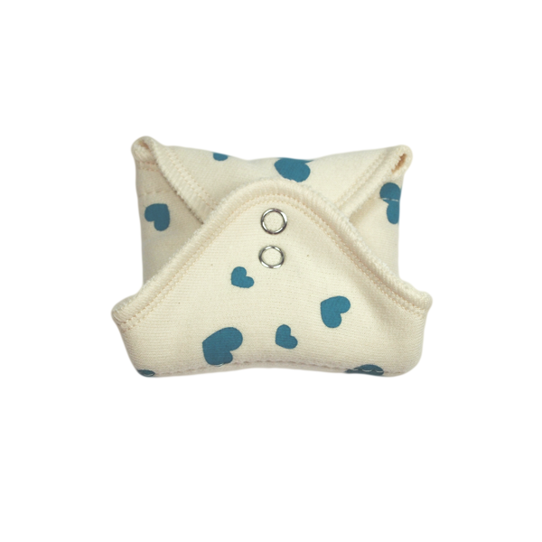 panty liner ECRU with printed Hearts ATLANTIC BLUE