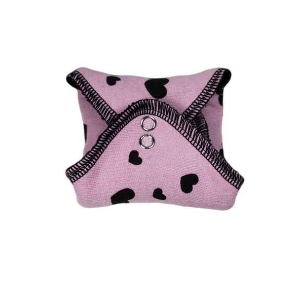 panty liner LILAC / BLACK with printed Hearts BLACK