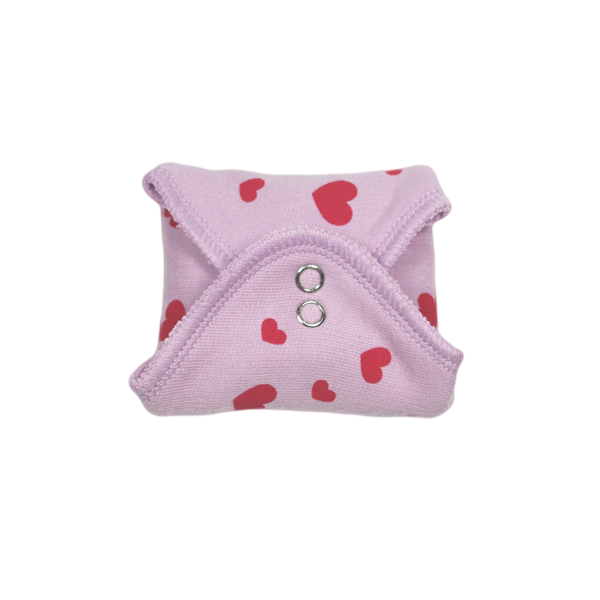 panty liner LILAC with printed Hearts RED
