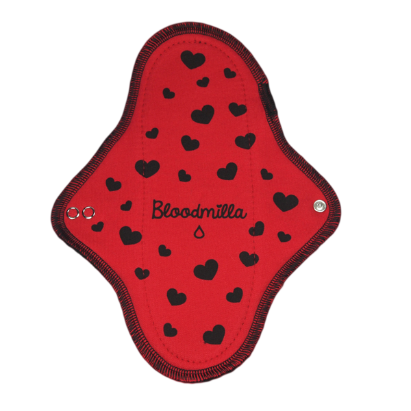 panty liner RED/ BLACK withprinted Hearts BLACK